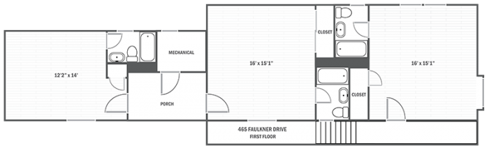 465 Faulkner Drive first level floor plan