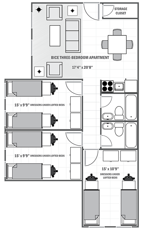 Bice House three-bedroom sample floor plan