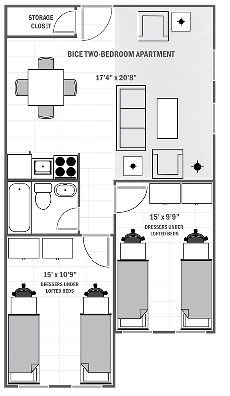 Bice House two-bedroom sample floor plan