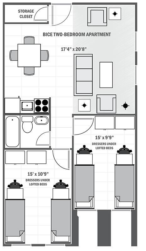 Bice House two-bedroom sample floor plan