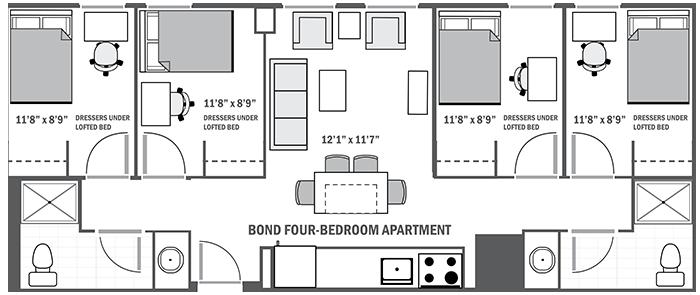 Bond House four-bedroom sample floor plan