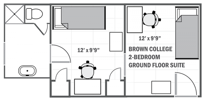 Brown College 2-room suite sample floor plan