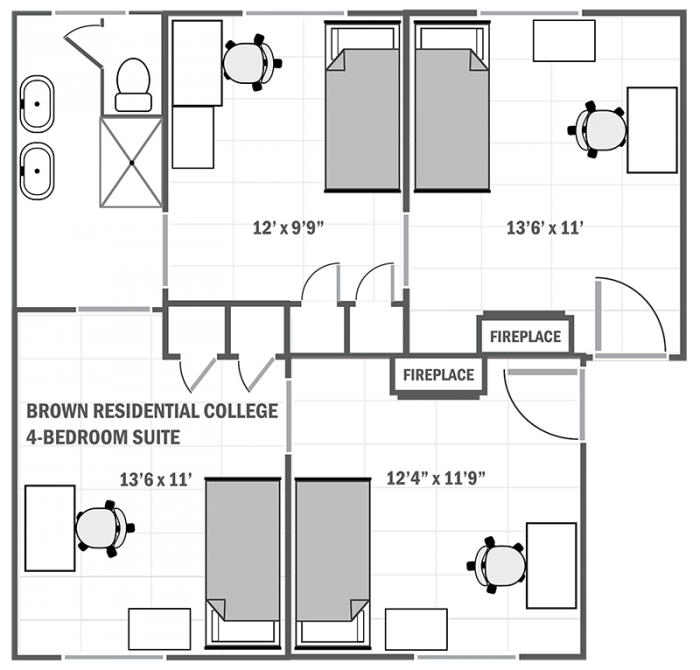 Brown College 4-room suite sample floor plan
