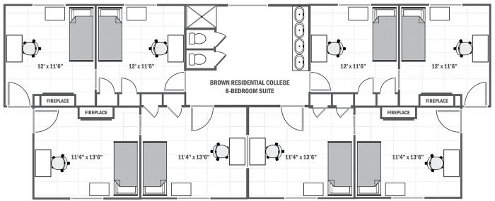 Brown College 8-room suite sample floor plan