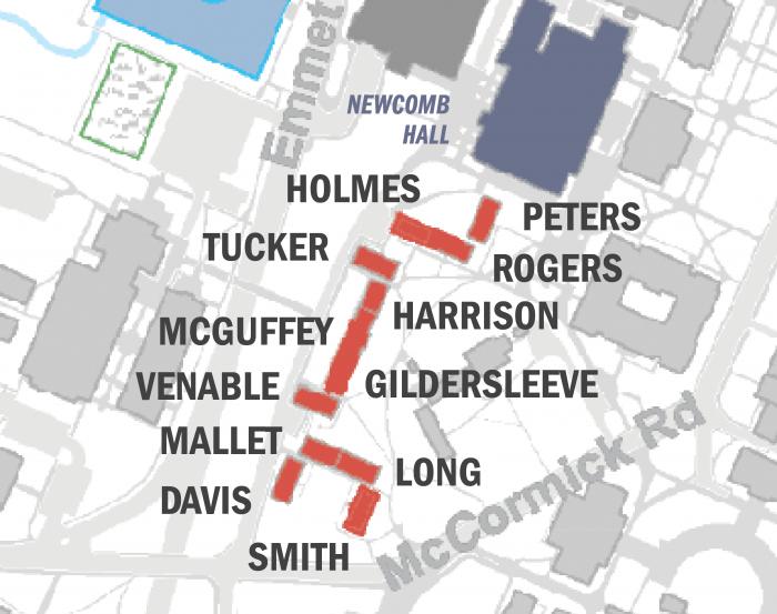 Brown Residential College buildings map
