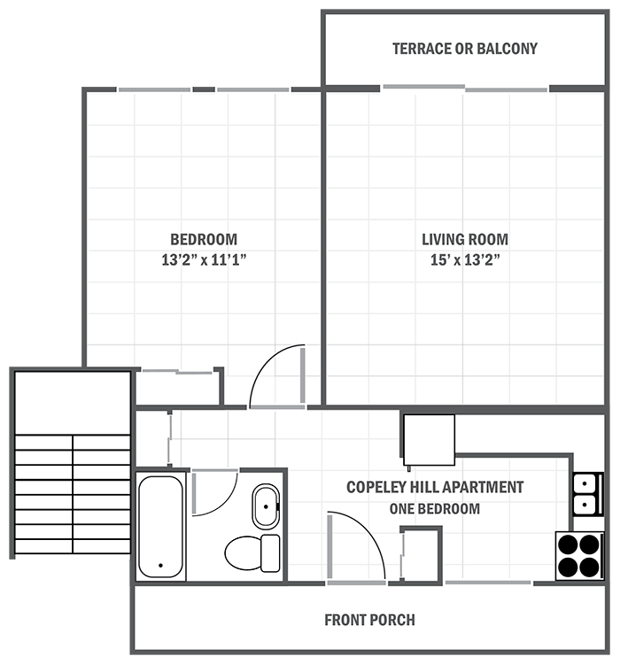 Copeley Hill one-bedroom apartment sample floor plan