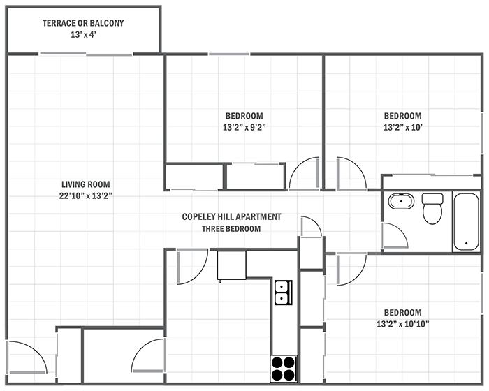 Copeley Hill two-bedroom apartment sample floor plan