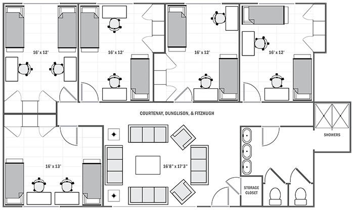 Courtenay, Dunglison, & Fitzhugh sample floor plan