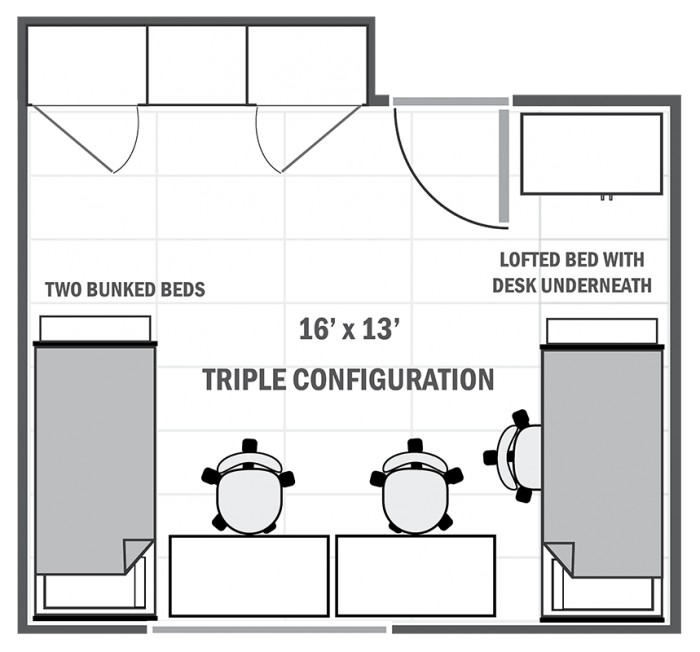 Alderman Road suite-style sample triple room
