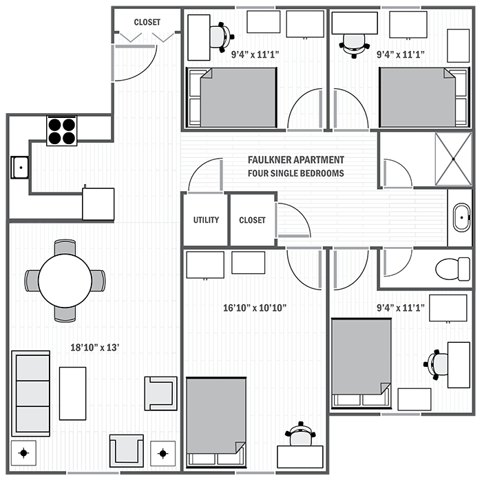 Faulkner Apartments four-bedroom sample floor plan