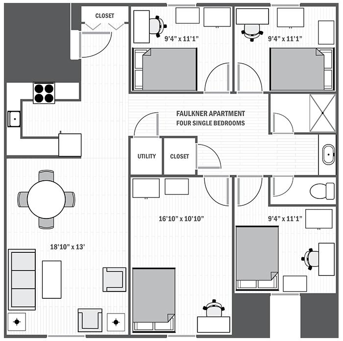 Faulkner Apartments Four Bedroom Sample Floor Plan