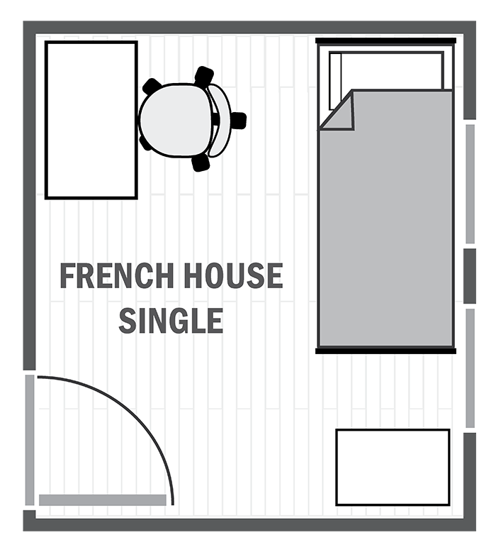 French House single sample floor plan