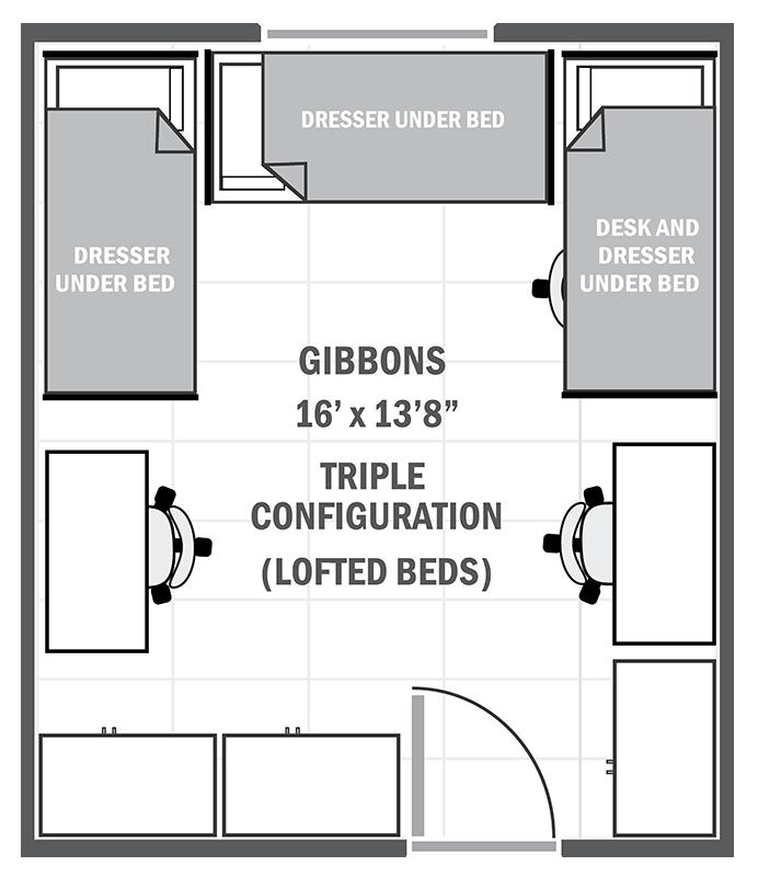Gibbons House sample triple floor plan