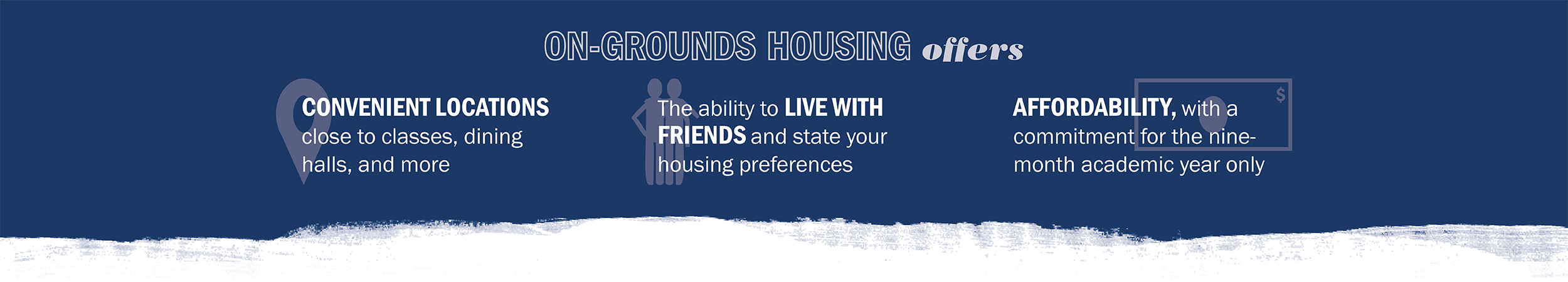 On-Grounds housing offers convenient locations close to classes, dining, and more; the ability to live with friends and state housing preferences; and affordability, with a financial commitment for the nine-month academic year only.