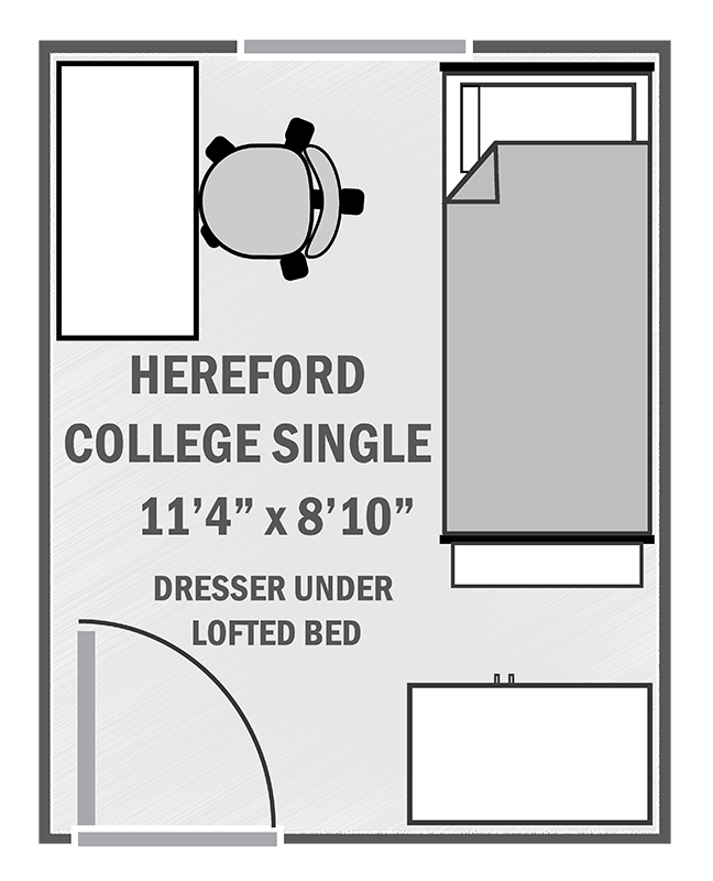 Hereford Residential College single sample floor plan