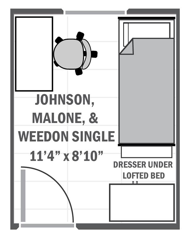 Johnson, Malone & Weedon single sample floor plan