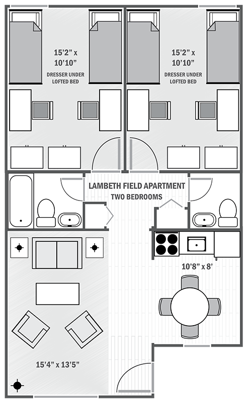 Lambeth Apartments two-bedroom sample floor plan