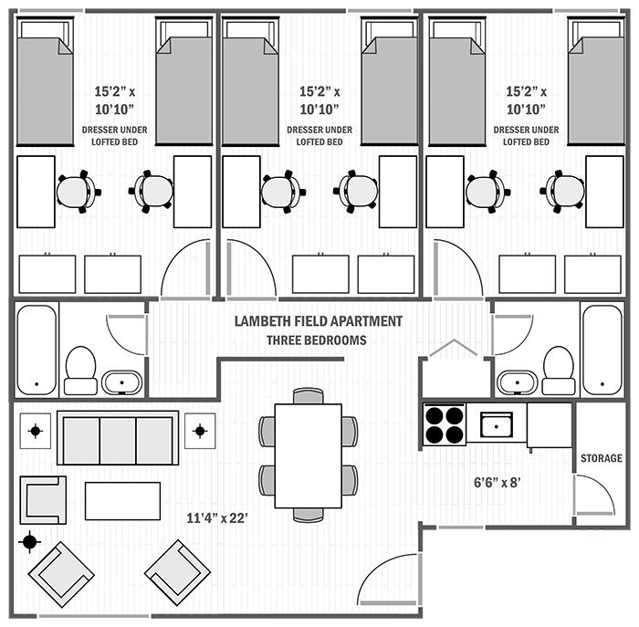 Lambeth Apartments three-bedroom sample floor plan