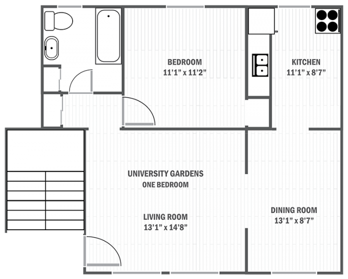 University Gardens one-bedroom sample floor plan