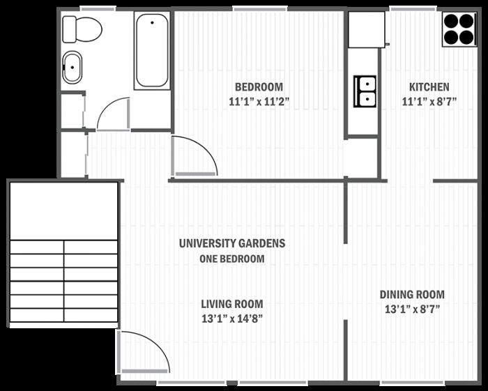 University Gardens one-bedroom sample floor plan
