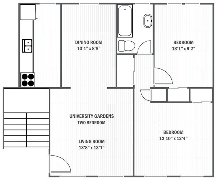 University Gardens two-bedroom sample floor plan