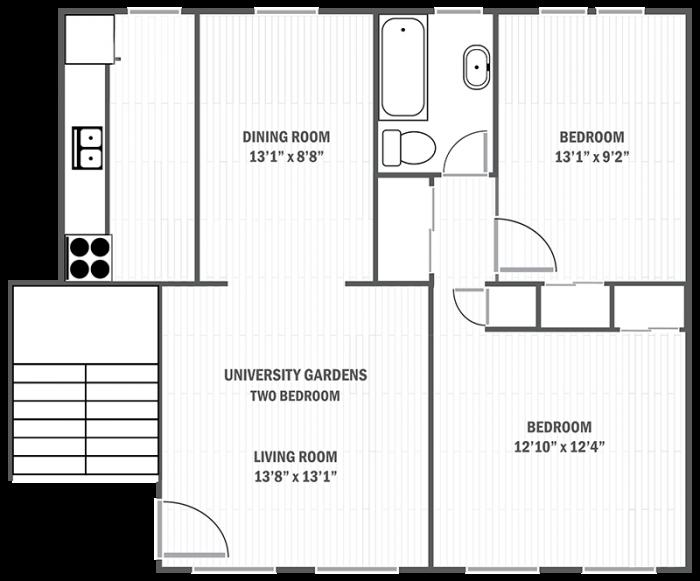 University Gardens two-bedroom sample floor plan