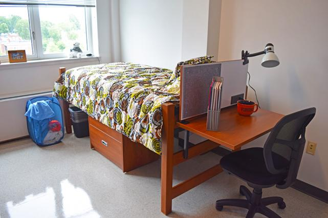 Lofted bed with bed-mounted desk and dresser