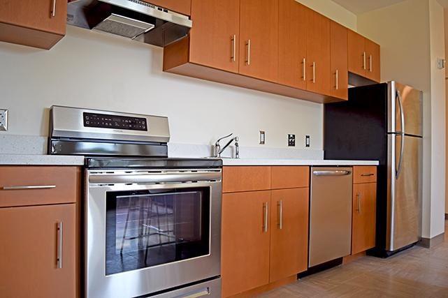 Kitchens feature stainless steel appliances
