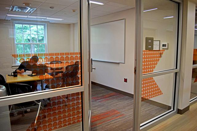 All buildings include study rooms with work areas and whiteboards