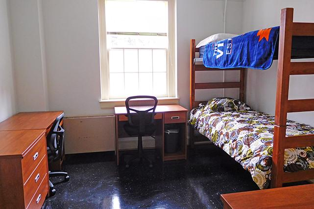 Brown double room in first-year suite