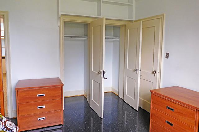 Brown double rooms have two closets and two dressers