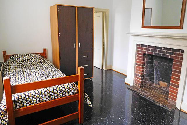 Single rooms in first-year suites have a wardrobe