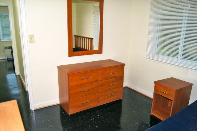 Furnished apartments include five-drawer dresser and nightstand (some also include a six-drawer dresser and mirror)