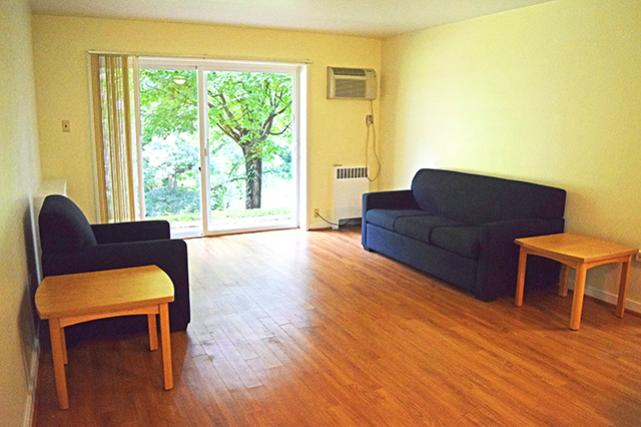 Living area in a ground floor apartment with patio