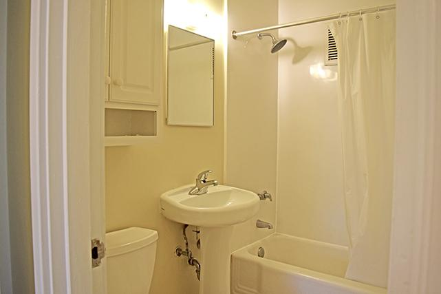 Two-bedroom apartment bathrooms have a standard tub/shower