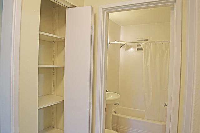 Two-bedroom apartments have a linen closet outside the bath
