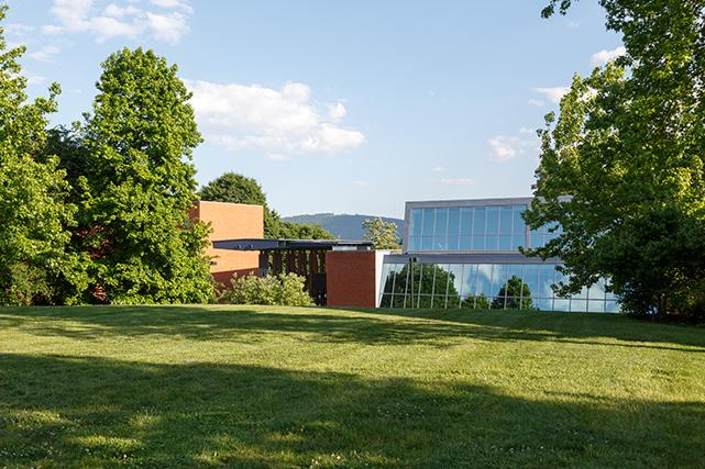 Runk Dining Hall and outdoor recreation area