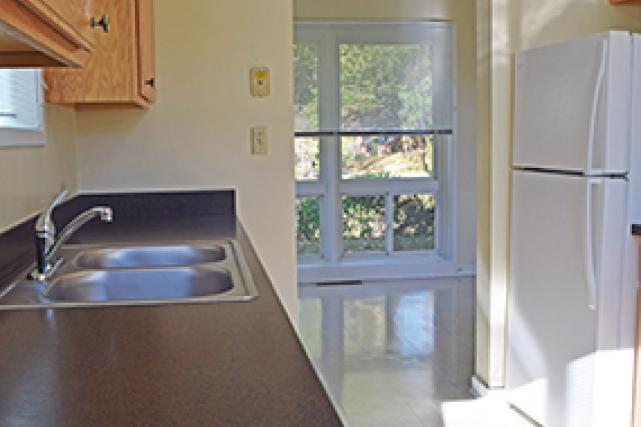The kitchen has ample cabinets and counter space