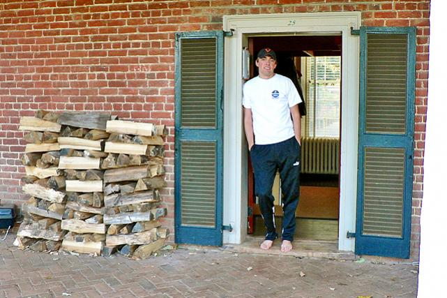 Firewood by the door -- fireplaces are functional!