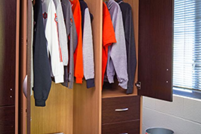 Wardrobes include drawers and hanging space